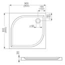 vanička z litého mramoru 90cm čtverec - ROLTECHNIK ALOHA-M - SANIPRO /900