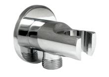 stěnová přípojka sprchové hadice s držákem - celokovová - ASSO