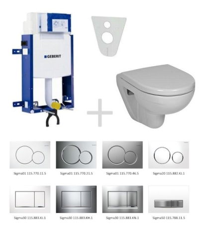 Geberit Kombifix Sada pro závěsné WC 110.302.00.5 NL + klozet a sedátko JIKA LYRA - sada s tlačítkem Sigma01, bílé 110.302.00.5 NL1