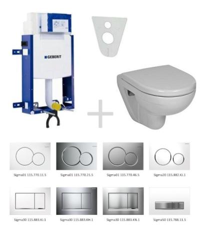 Geberit Kombifix Sada pro závěsné WC 110.302.00.5 NL + klozet a sedátko JIKA LYRA - sada s tlačítkem Sigma01, bílé 110.302.00.5 NL5