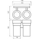 Nimco - Keira - Držák sklenek dvojitý - KE 22058DW-26