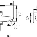 Novaservis Nástěnná vanová baterie bez příslušenství ALGEO SQUAREchrom 82020/1,0