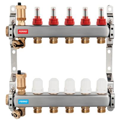 Novaservis Rozdělovač nerez s průtokoměry a uzav. ventily, 2 okruhy SN-RZPU02S