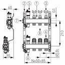 Novaservis Rozdělovač nerez s průtokoměry a uzav. ventily, 3 okruhy SN-RZPU03S