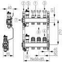 Novaservis Rozdělovač nerez s průtokoměry a uzav. ventily, 4 okruhy SN-RZPU04S