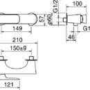 Novaservis Sprchová baterie bez příslušenství 150 mm LAGHI chrom 44061/1,0