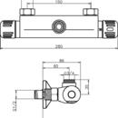 Novaservis Sprchová termostat baterie horní vývod 150 mm Aquamat chrom 2661/1,0