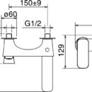 Novaservis Vanová baterie bez příslušenství 150 mm LAGHI chrom 44020/1,0