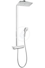 Hansgrohe Raindance Select E Showerpipe 360 1jet EcoSmart, termostatická sprchová baterie, sprchové rameno 380 mm, bílá/chrom 27286400