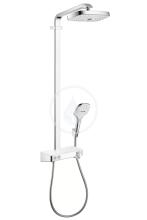 Hansgrohe Raindance Select E Showerpipe 300 2jet EcoSmart, termostatická sprchová baterie, sprchové rameno 380 mm, bílá/chrom 27283400