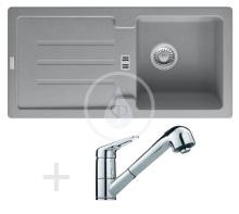 Franke Sety Kuchyňský set G26, granitový dřez STG 614, šedý kámen + baterie FC 9547.031, chrom 114.0265.659