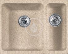Franke Kubus Fragranitový dřez KBG 160/2, 558x460 mm, pískový melír 125.0250.536