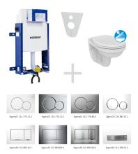 Sada pro závěsné WC 110.302.00.5 ND + klozet a sedátko Ideal Standard Quarzo - sada s tlačítkem Sigma01, bílé