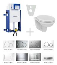 Sada pro závěsné WC 110.302.00.5 NR + klozet a sedátko Ideal Standard Quarzo - sada s tlačítkem Sigma01, bílé
