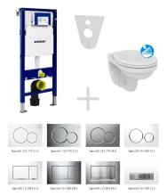 Geberit Duofix Sada pro závěsné WC 111.300.00.5 ND + klozet a sedátko Ideal Standard Quarzo - sada s tlačítkem Sigma50, výplň bílá 111.300.00.5 ND8