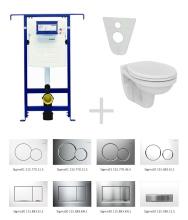 Geberit Duofix Sada pro závěsné WC 111.355.00.5 NR + klozet a sedátko Ideal Standard Quarzo - sada s tlačítkem Sigma50, výplň bílá 111.355.00.5 NR8